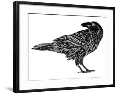 Stylized Crows. Decorative Bird. Line Art. Rook. Black and White Drawing by Hand. Doodle. Zentangle-In Art-Framed Art Print