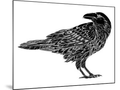 Stylized Crows. Decorative Bird. Line Art. Rook. Black and White Drawing by Hand. Doodle. Zentangle-In Art-Mounted Art Print