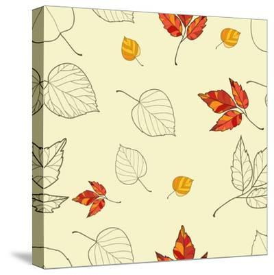 Vector Seamless Background with Autumn Leaves-lolya1988-Stretched Canvas Print