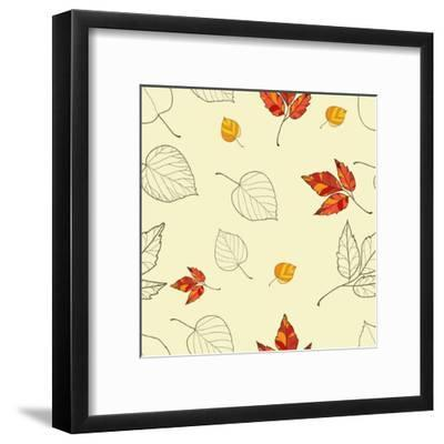 Vector Seamless Background with Autumn Leaves-lolya1988-Framed Art Print