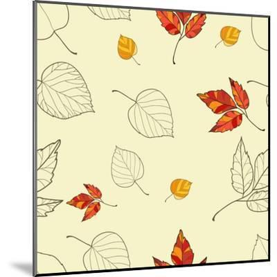 Vector Seamless Background with Autumn Leaves-lolya1988-Mounted Art Print