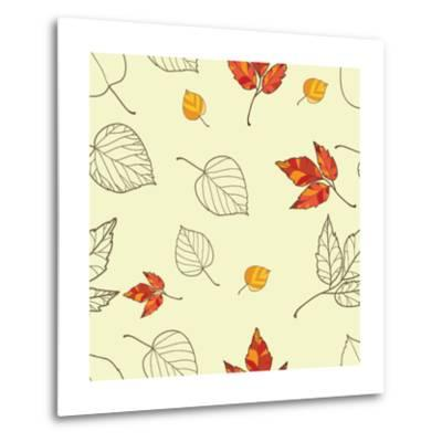 Vector Seamless Background with Autumn Leaves-lolya1988-Metal Print