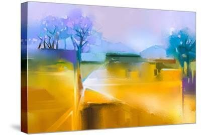 Abstract Oil Painting Background. Colorful Yellow and Purple Sky Oil Painting Landscape on Canvas.-pluie_r-Stretched Canvas Print