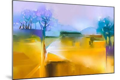 Abstract Oil Painting Background. Colorful Yellow and Purple Sky Oil Painting Landscape on Canvas.-pluie_r-Mounted Art Print