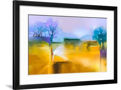 Abstract Oil Painting Background. Colorful Yellow and Purple Sky Oil Painting Landscape on Canvas.-pluie_r-Framed Art Print