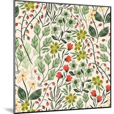 Floral Pattern with Colorful Summer Plants and Flowers-Anna Paff-Mounted Art Print