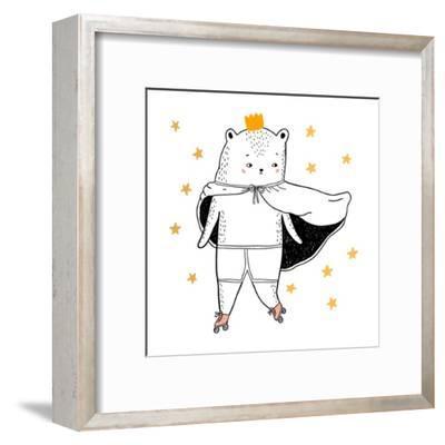 Bear Drawing - Funny Vector Children Illustration- lenaer-Framed Art Print