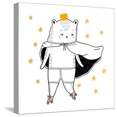 Bear Drawing - Funny Vector Children Illustration- lenaer-Stretched Canvas Print