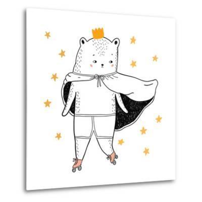 Bear Drawing - Funny Vector Children Illustration- lenaer-Metal Print