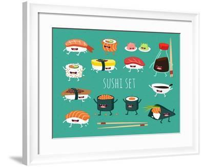 Sushi Set. Soy Sauce and Sushi Roll. Japanese Food. Vector Cartoon. Friends Forever. Comic Characte- Serbinka-Framed Art Print