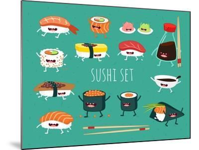 Sushi Set. Soy Sauce and Sushi Roll. Japanese Food. Vector Cartoon. Friends Forever. Comic Characte- Serbinka-Mounted Art Print