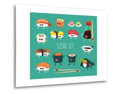 Sushi Set. Soy Sauce and Sushi Roll. Japanese Food. Vector Cartoon. Friends Forever. Comic Characte- Serbinka-Metal Print
