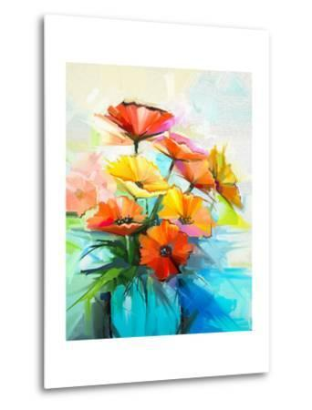 Oil Painting Spring Flower Background. Still Life of Yellow, Pink, Red Gerbera Bouquet in Vase. Col-pluie_r-Metal Print