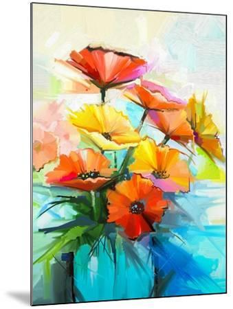 Oil Painting Spring Flower Background. Still Life of Yellow, Pink, Red Gerbera Bouquet in Vase. Col-pluie_r-Mounted Art Print