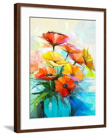 Oil Painting Spring Flower Background. Still Life of Yellow, Pink, Red Gerbera Bouquet in Vase. Col-pluie_r-Framed Art Print