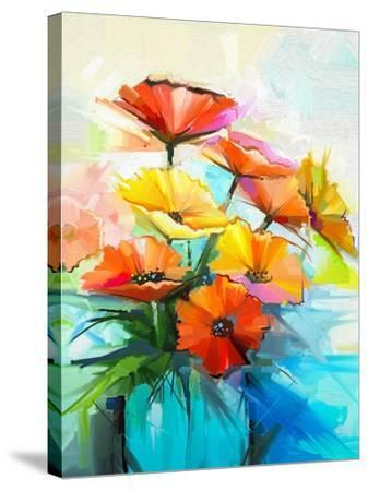 Oil Painting Spring Flower Background. Still Life of Yellow, Pink, Red Gerbera Bouquet in Vase. Col-pluie_r-Stretched Canvas Print