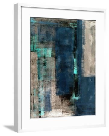 Blue and Beige Abstract Art Painting-T30 Gallery-Framed Art Print