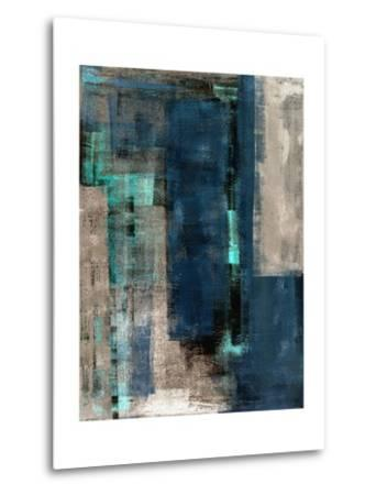 Blue and Beige Abstract Art Painting-T30 Gallery-Metal Print