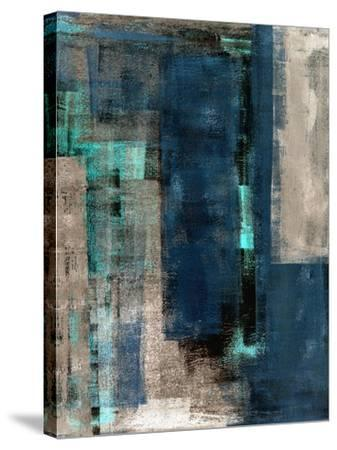 Blue and Beige Abstract Art Painting-T30 Gallery-Stretched Canvas Print