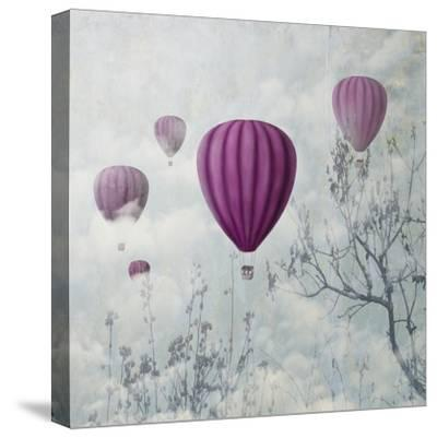 Fantasy Artistic Image of Pink Hot Air Balloons in the Clouds. Fine Art Surreal Landscape Scenery.-hitdelight-Stretched Canvas Print