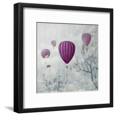 Fantasy Artistic Image of Pink Hot Air Balloons in the Clouds. Fine Art Surreal Landscape Scenery.-hitdelight-Framed Art Print