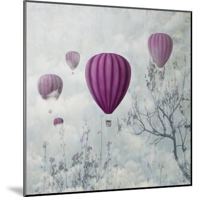 Fantasy Artistic Image of Pink Hot Air Balloons in the Clouds. Fine Art Surreal Landscape Scenery.-hitdelight-Mounted Art Print