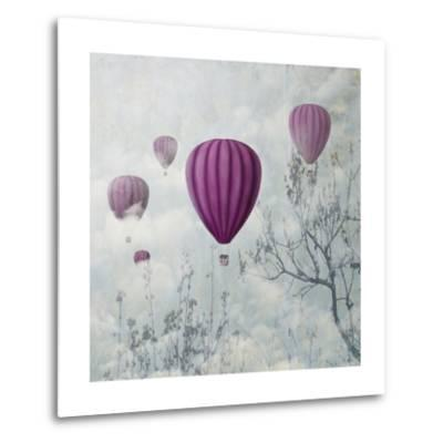 Fantasy Artistic Image of Pink Hot Air Balloons in the Clouds. Fine Art Surreal Landscape Scenery.-hitdelight-Metal Print