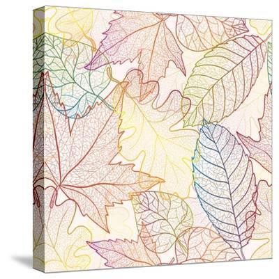 Autumn Transparent Maple Leaves Pattern Background. Colored Art Vector Autumn Leaves Pattern. Fabri-Julia Snegireva-Stretched Canvas Print