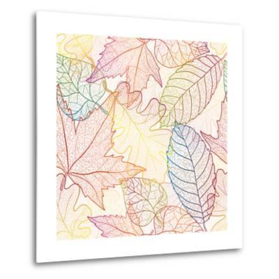 Autumn Transparent Maple Leaves Pattern Background. Colored Art Vector Autumn Leaves Pattern. Fabri-Julia Snegireva-Metal Print