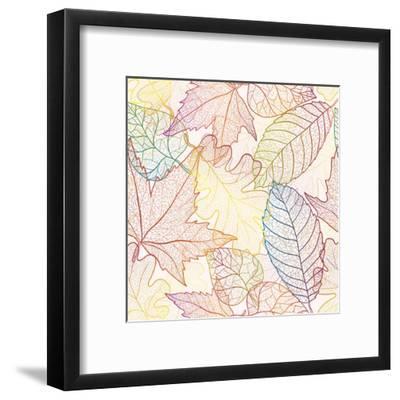 Autumn Transparent Maple Leaves Pattern Background. Colored Art Vector Autumn Leaves Pattern. Fabri-Julia Snegireva-Framed Art Print