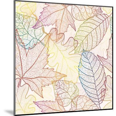 Autumn Transparent Maple Leaves Pattern Background. Colored Art Vector Autumn Leaves Pattern. Fabri-Julia Snegireva-Mounted Art Print