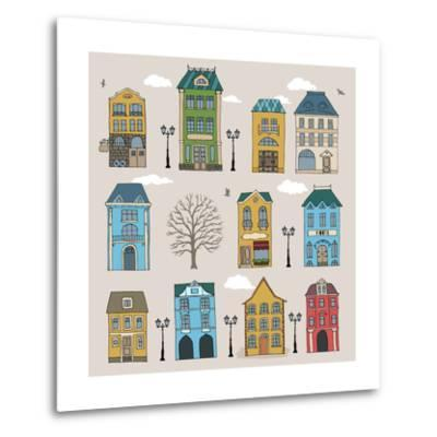 Set of Old European Houses Isolated on Vintage Background. Hand Drawn Sketch in Doodle Style. Vecto- Piranjya-Metal Print