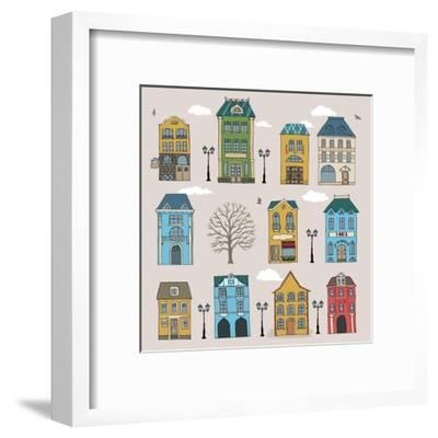 Set of Old European Houses Isolated on Vintage Background. Hand Drawn Sketch in Doodle Style. Vecto- Piranjya-Framed Art Print