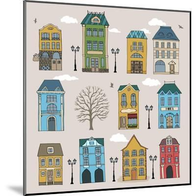Set of Old European Houses Isolated on Vintage Background. Hand Drawn Sketch in Doodle Style. Vecto- Piranjya-Mounted Art Print