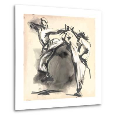 An Hand Drawn Converted Vector in Calligraphic Style from Series Martial Arts: Karate. Karate is a-KUCO-Metal Print