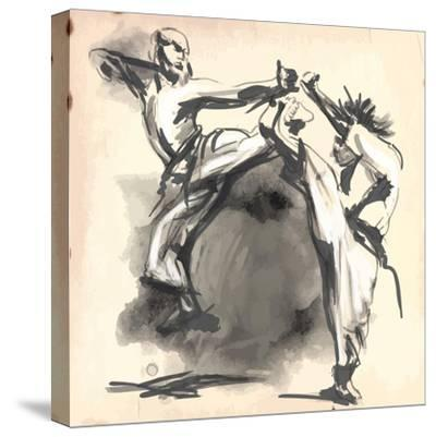 An Hand Drawn Converted Vector in Calligraphic Style from Series Martial Arts: Karate. Karate is a-KUCO-Stretched Canvas Print