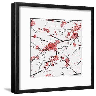 Cherry or Sakura Seamless Pattern Background- SofiaV-Framed Art Print