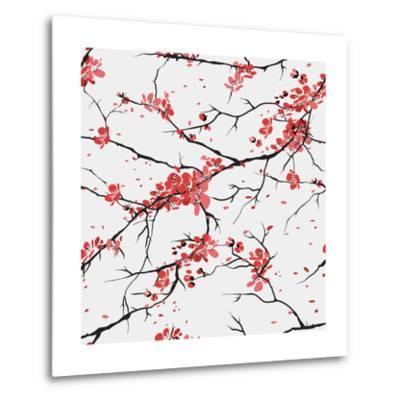 Cherry or Sakura Seamless Pattern Background- SofiaV-Metal Print