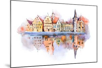 Bruges Cityscape Watercolor Drawing, Belgium. Brugge Canal Aquarelle Painting- undrey-Mounted Art Print