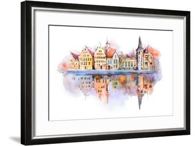 Bruges Cityscape Watercolor Drawing, Belgium. Brugge Canal Aquarelle Painting- undrey-Framed Art Print