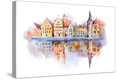 Bruges Cityscape Watercolor Drawing, Belgium. Brugge Canal Aquarelle Painting- undrey-Stretched Canvas Print