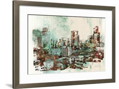 Cityscape with Abstract Textures,Illustration Painting-Tithi Luadthong-Framed Art Print