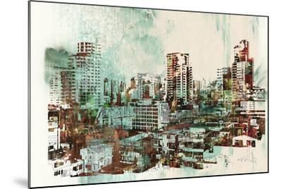 Cityscape with Abstract Textures,Illustration Painting-Tithi Luadthong-Mounted Art Print