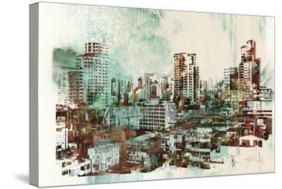 Cityscape with Abstract Textures,Illustration Painting-Tithi Luadthong-Stretched Canvas Print
