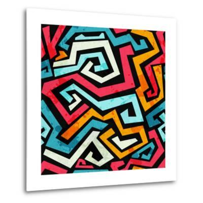 Bright Graffiti Seamless Pattern with Grunge Effect- gudinny-Metal Print