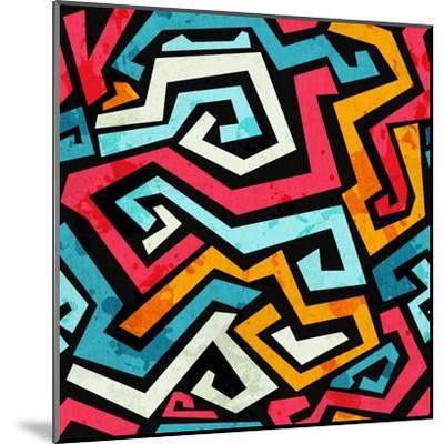Bright Graffiti Seamless Pattern with Grunge Effect- gudinny-Mounted Art Print