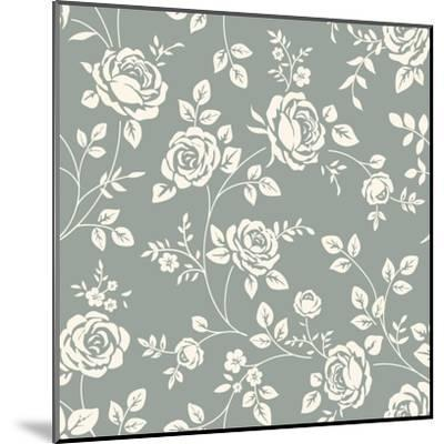 Vector Seamless Pattern with Flowers. Vintage Background with Blooming Roses. Floral Wallpaper. Whi- Gizele-Mounted Art Print