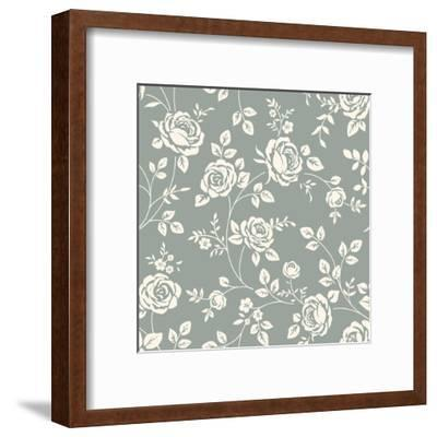 Vector Seamless Pattern with Flowers. Vintage Background with Blooming Roses. Floral Wallpaper. Whi- Gizele-Framed Art Print
