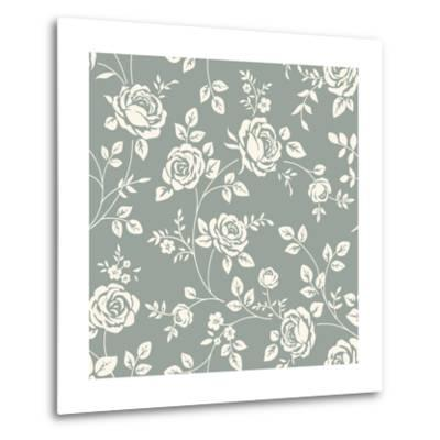 Vector Seamless Pattern with Flowers. Vintage Background with Blooming Roses. Floral Wallpaper. Whi- Gizele-Metal Print