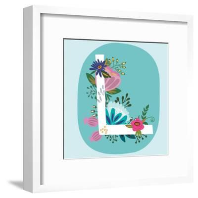 Vector Hand Drawn Floral Monogram with Vintage Amazing Flowers! Letters L Perfect for Backgrounds O-MarushaBelle-Framed Art Print